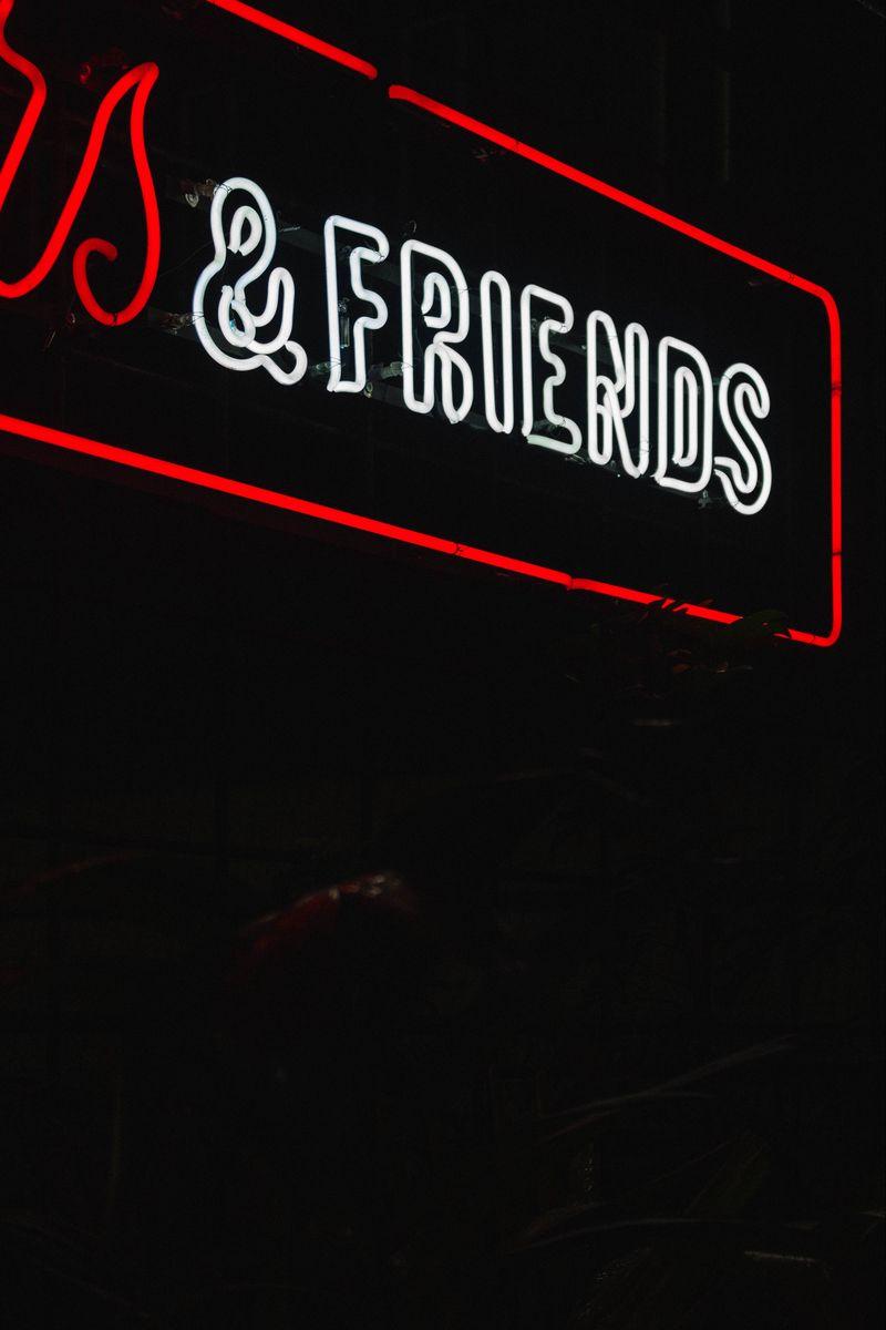 800x1200 Wallpaper friends, inscription, neon, backlight, dark