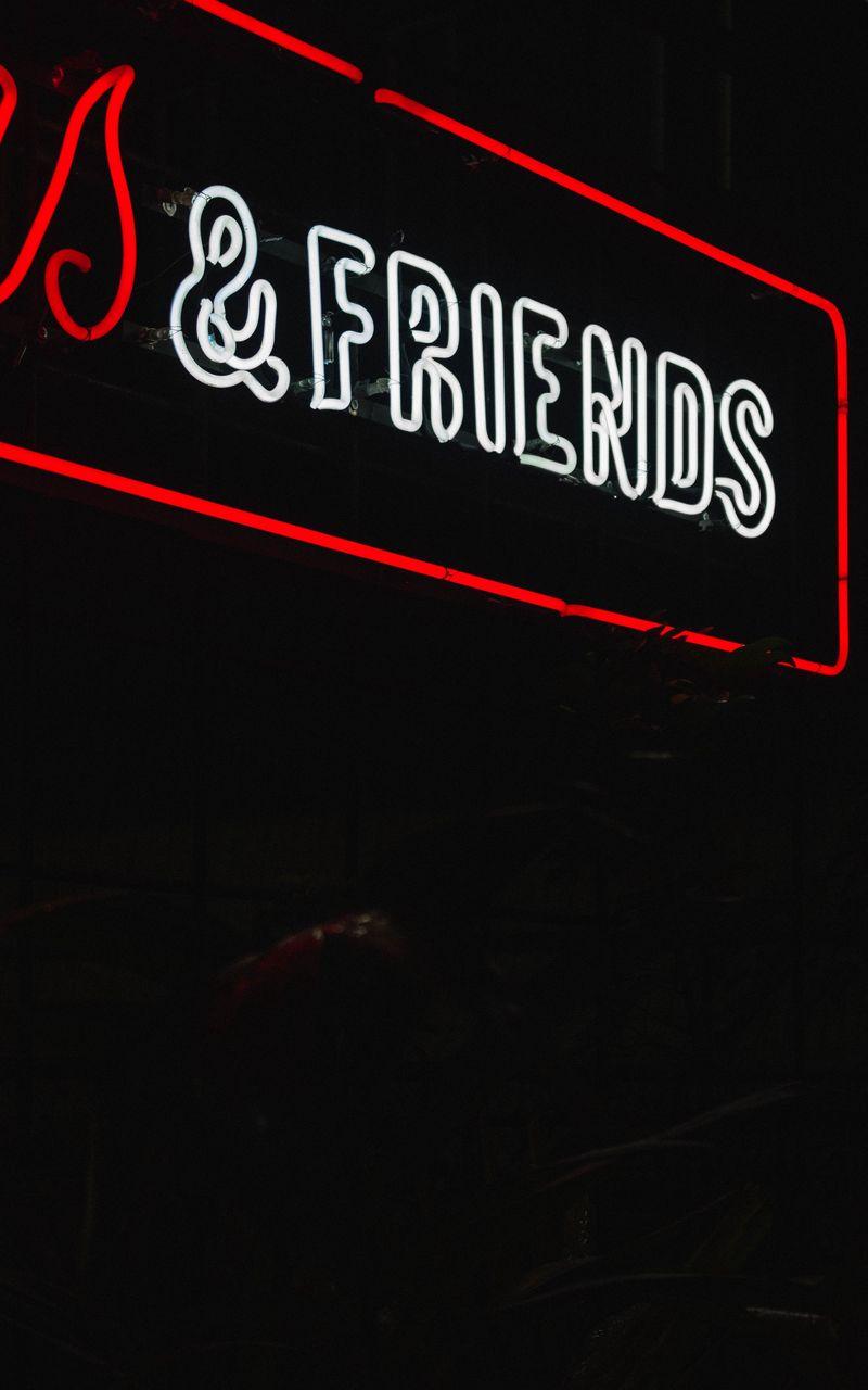 800x1280 Wallpaper friends, inscription, neon, backlight, dark