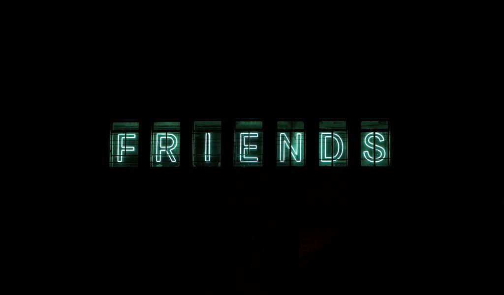 1024x600 Wallpaper friends, inscription, neon, backlight, dark, letters