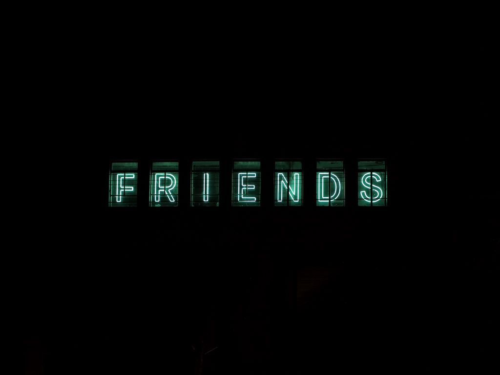 1024x768 Wallpaper friends, inscription, neon, backlight, dark, letters