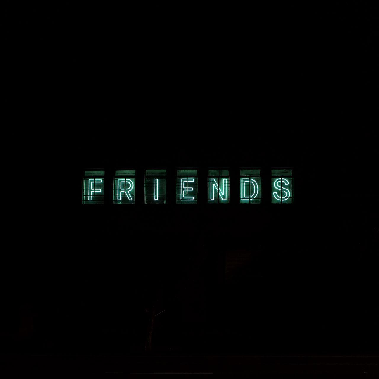 1280x1280 Wallpaper friends, inscription, neon, backlight, dark, letters