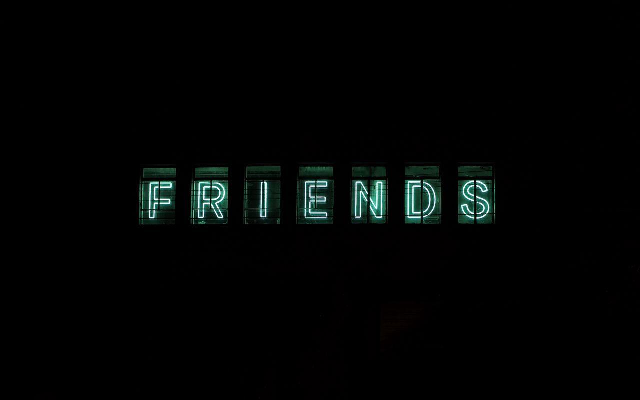 1280x800 Wallpaper friends, inscription, neon, backlight, dark, letters