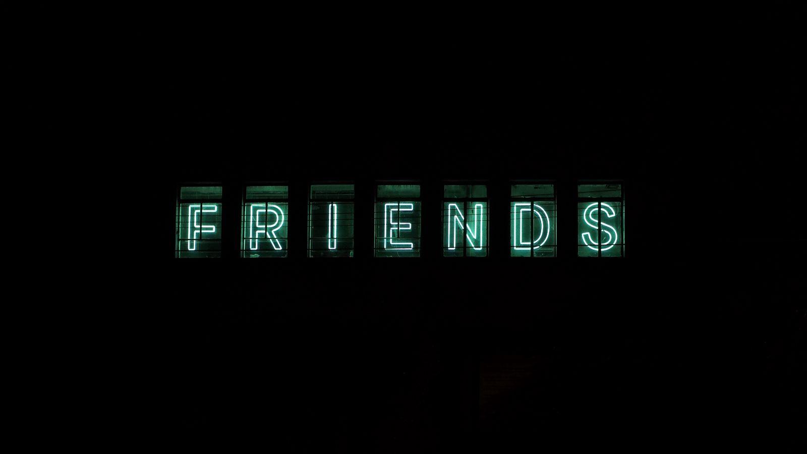 1600x900 Wallpaper friends, inscription, neon, backlight, dark, letters