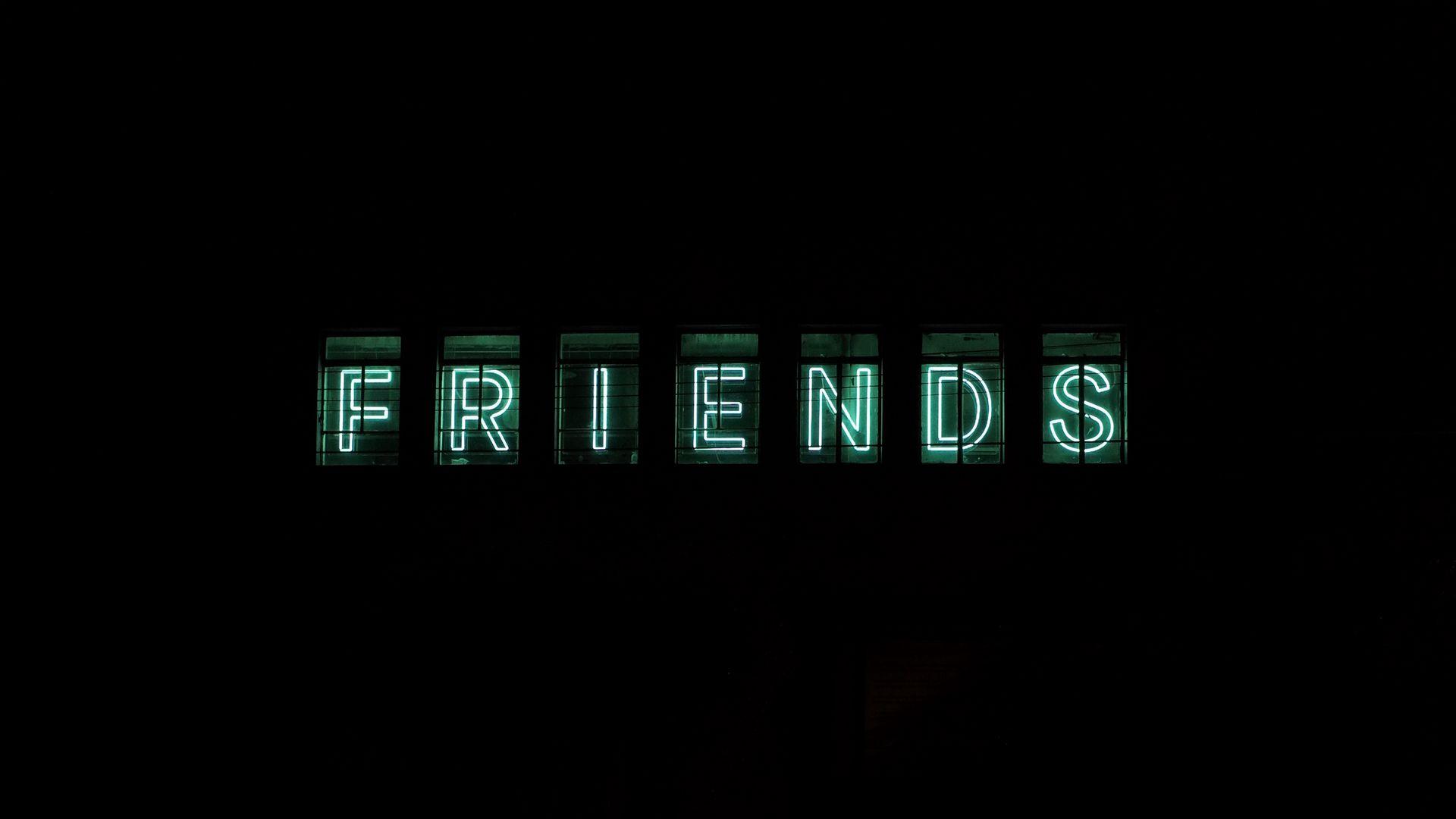 1920x1080 Wallpaper friends, inscription, neon, backlight, dark, letters