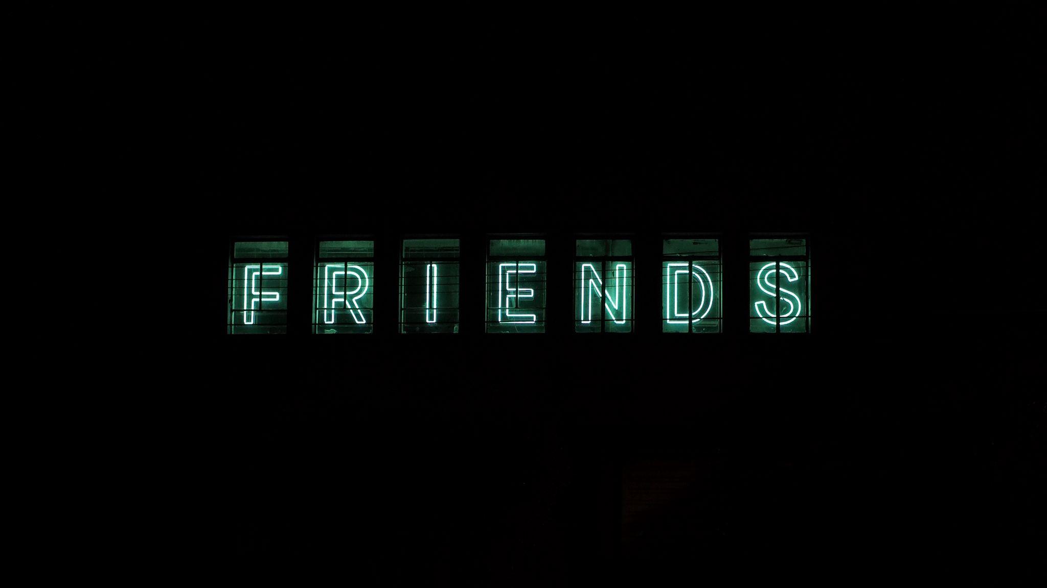 2048x1152 Wallpaper friends, inscription, neon, backlight, dark, letters
