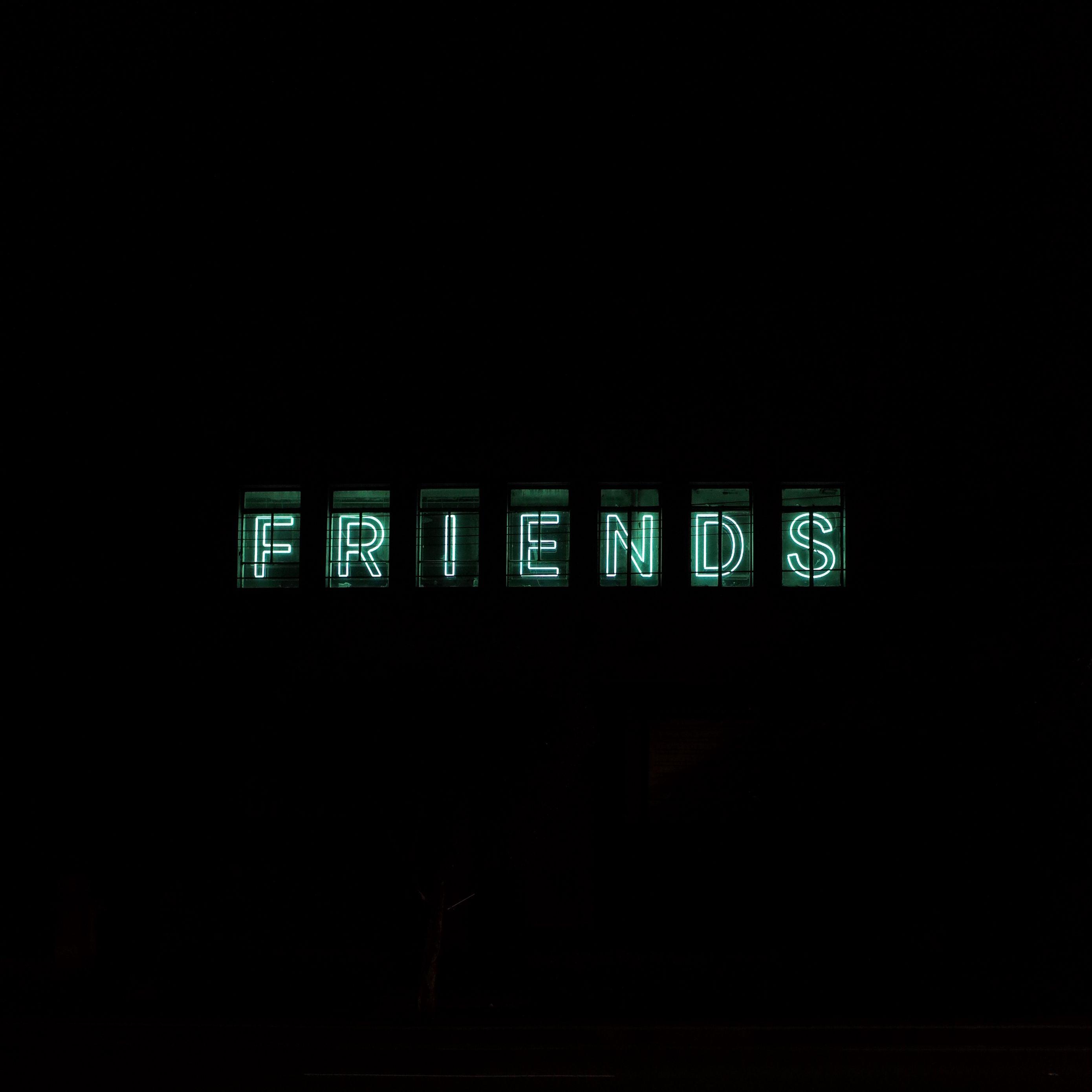 2780x2780 Wallpaper friends, inscription, neon, backlight, dark, letters