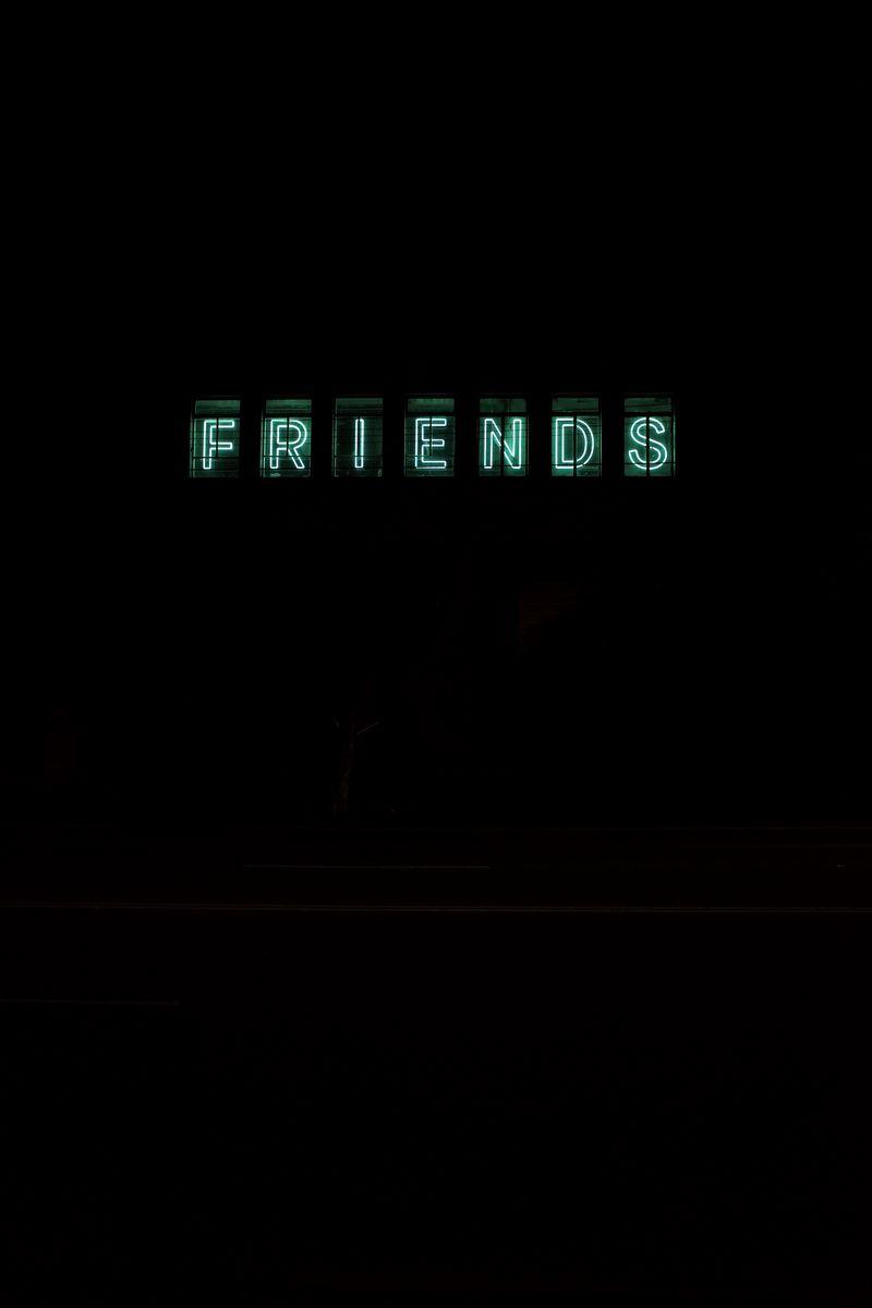 800x1200 Wallpaper friends, inscription, neon, backlight, dark, letters