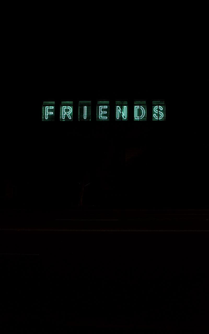 800x1280 Wallpaper friends, inscription, neon, backlight, dark, letters