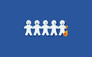 Preview wallpaper friends, paper, smile, grief, fire