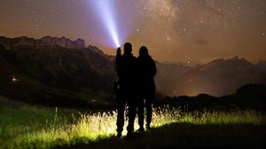 Preview wallpaper friends, silhouette, starry sky, night, stars