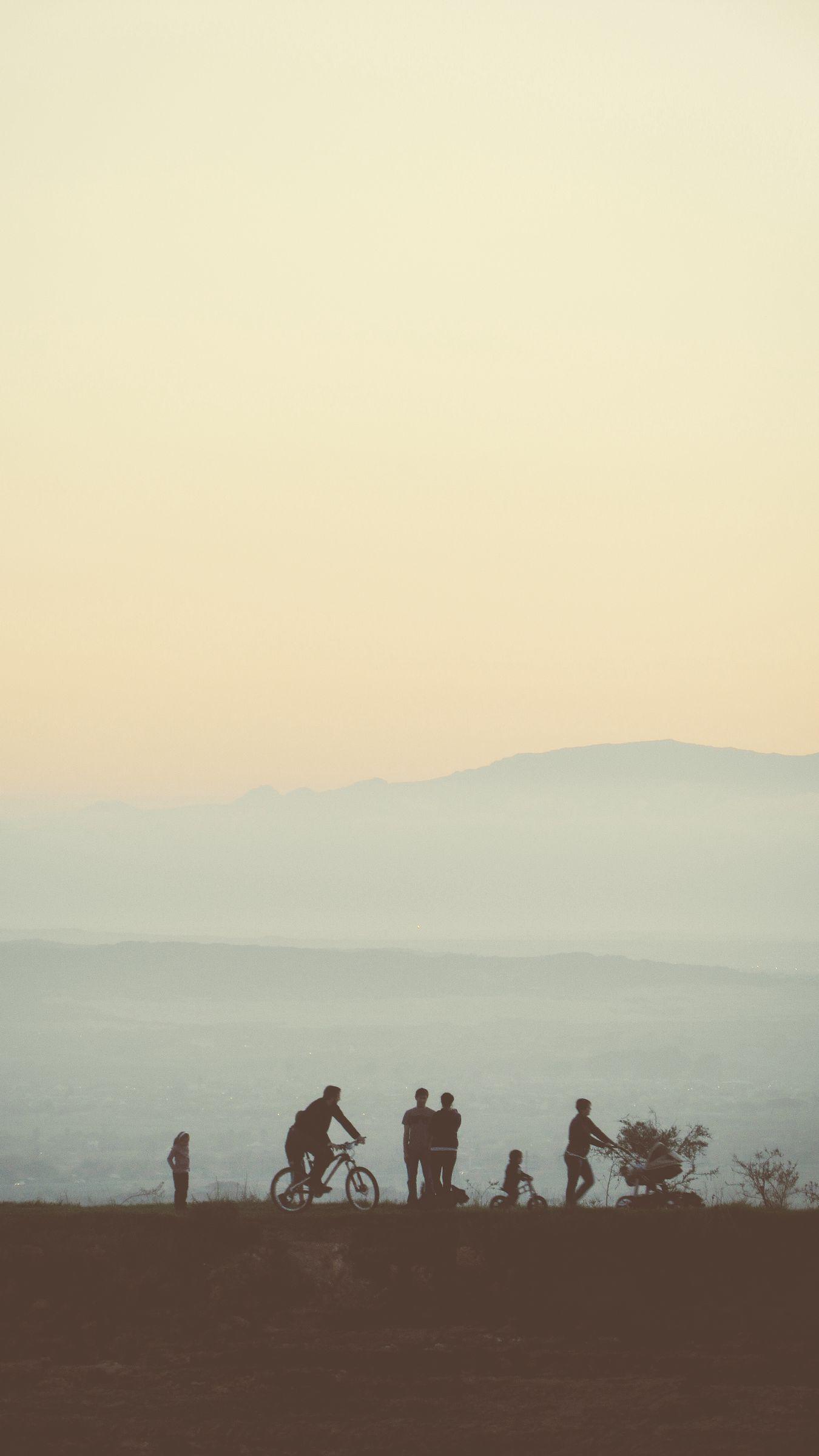1350x2400 Wallpaper friends, silhouettes, mountains, nature, light