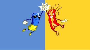 Preview wallpaper friendship, clap, blue, yellow