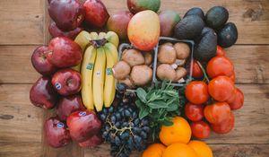 Preview wallpaper fruit, bananas, grapes, oranges, mushrooms, avocado