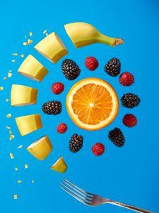 Preview wallpaper fruit, berries, fork, fresh, juicy