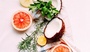 Preview wallpaper fruit, coconut, grapefruit, apples, herbs