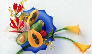 Preview wallpaper fruit, cutting, plate