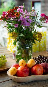 Preview wallpaper fruit, flowers, bouquet, still life, aesthetics