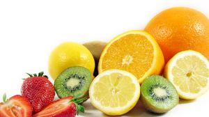 Preview wallpaper fruit, kiwi, lemon, orange, strawberry, advantage