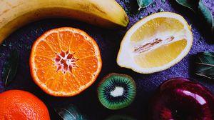 Preview wallpaper fruit, lemon, orange, kiwi, banana, apple