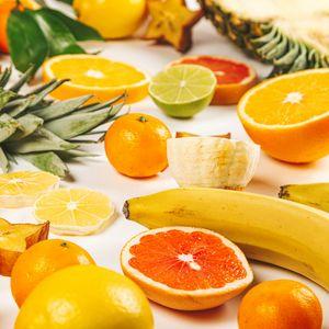Preview wallpaper fruit, orange, banana, lemon, pineapple
