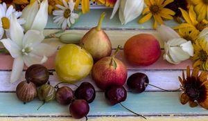 Preview wallpaper fruit, pear, gooseberry, flowers
