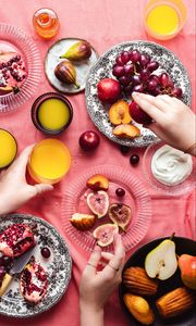 Preview wallpaper fruit, plates, dessert, hands, party