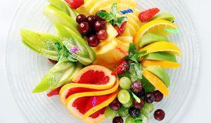 Preview wallpaper fruit, sliced, apples, pineapple, cherry, strawberry, lemon, grapefruit