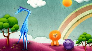 Preview wallpaper funny, animals, drawing, rainbow