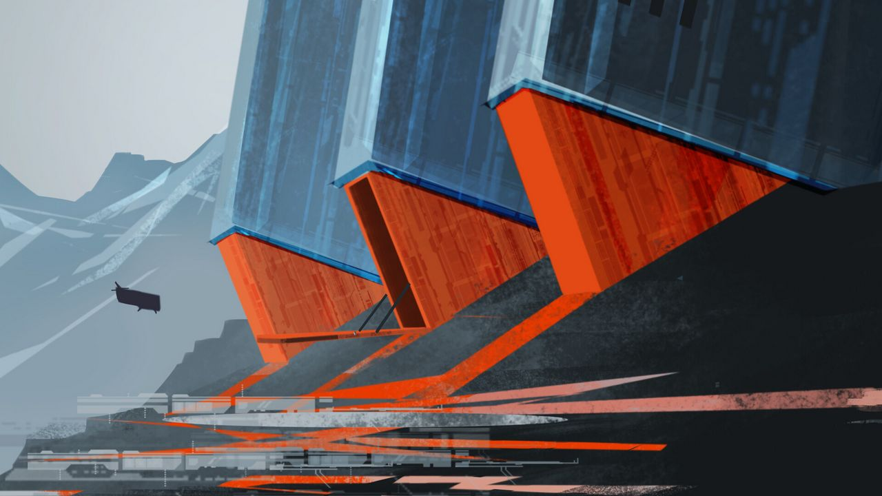 Wallpaper future, airship, art