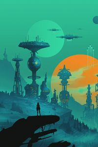 Preview wallpaper future, cyborg, space station, sci fi