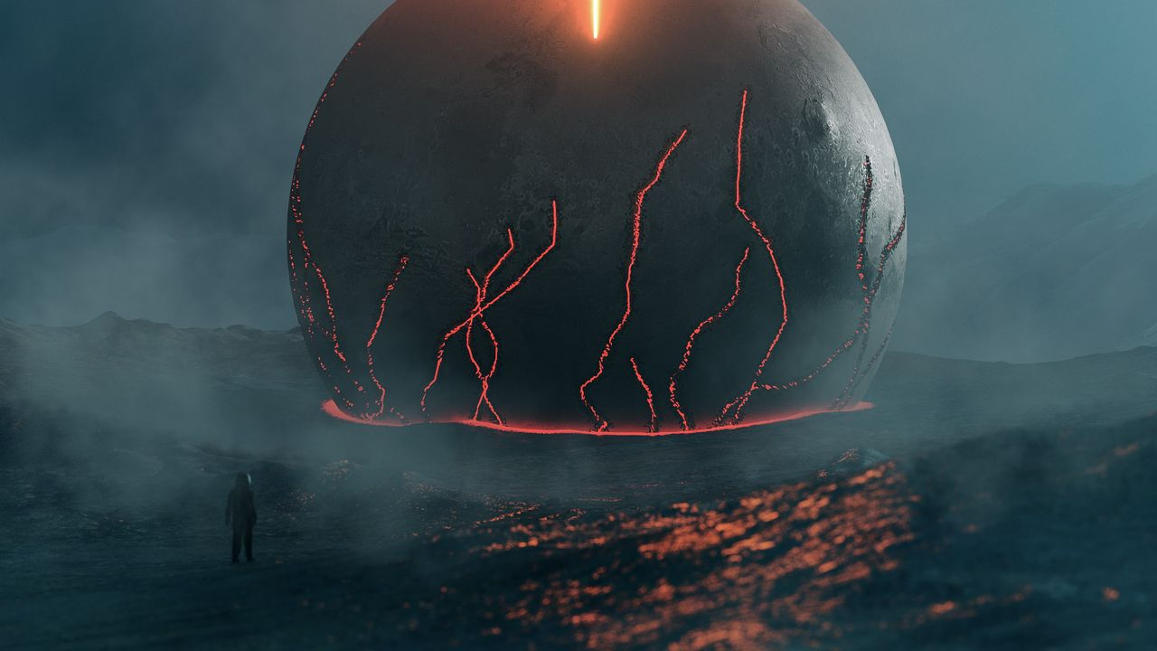 Wallpaper future, fantasy, meteorite, lava, glow, fog