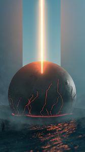 Preview wallpaper future, fantasy, meteorite, lava, glow, fog