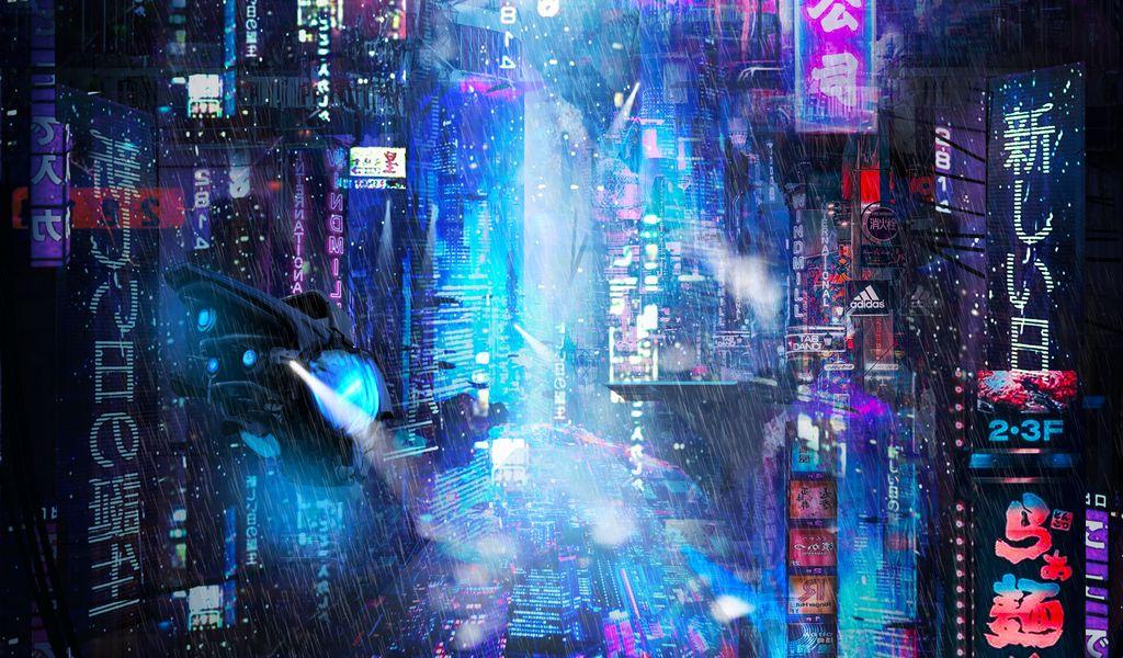 1024x600 Wallpaper future, neon, city, rain