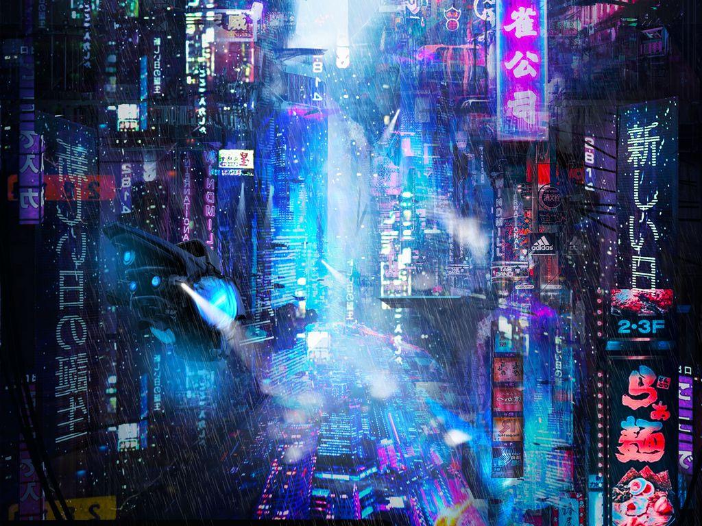 1024x768 Wallpaper future, neon, city, rain