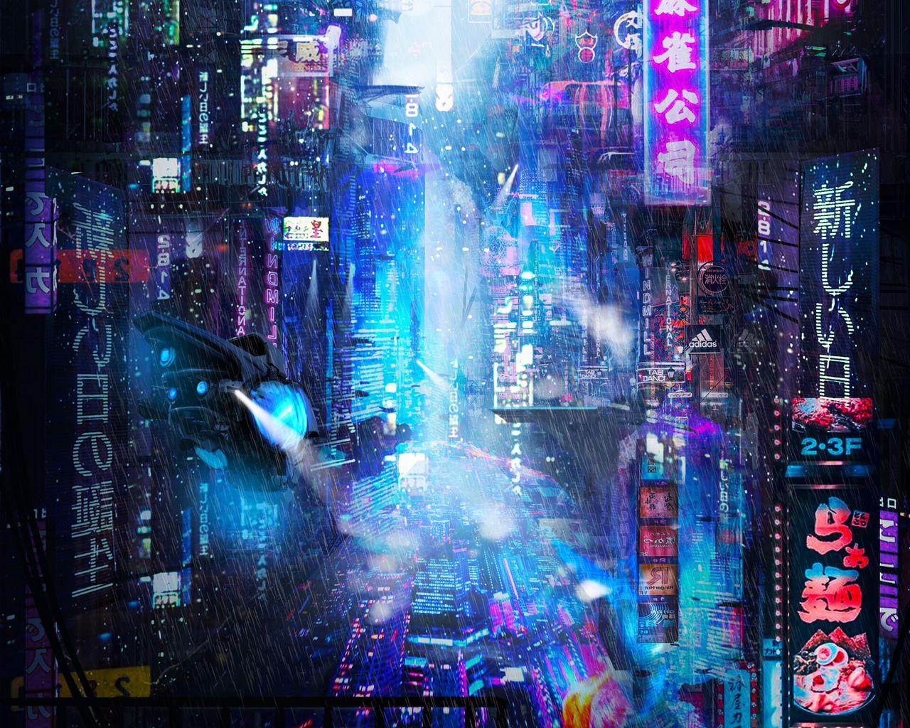 1280x1024 Wallpaper future, neon, city, rain