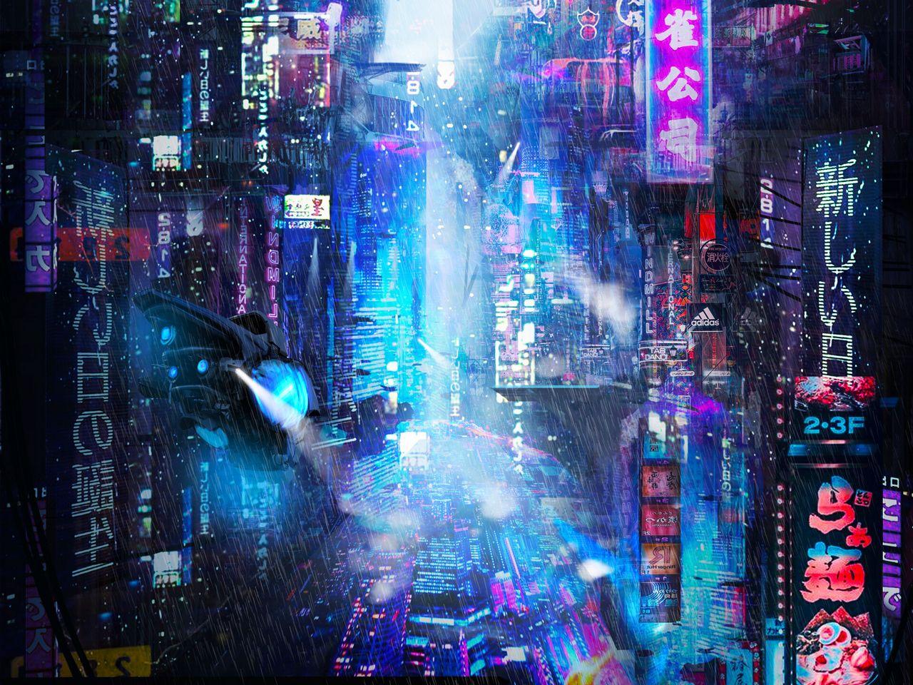 1280x960 Wallpaper future, neon, city, rain