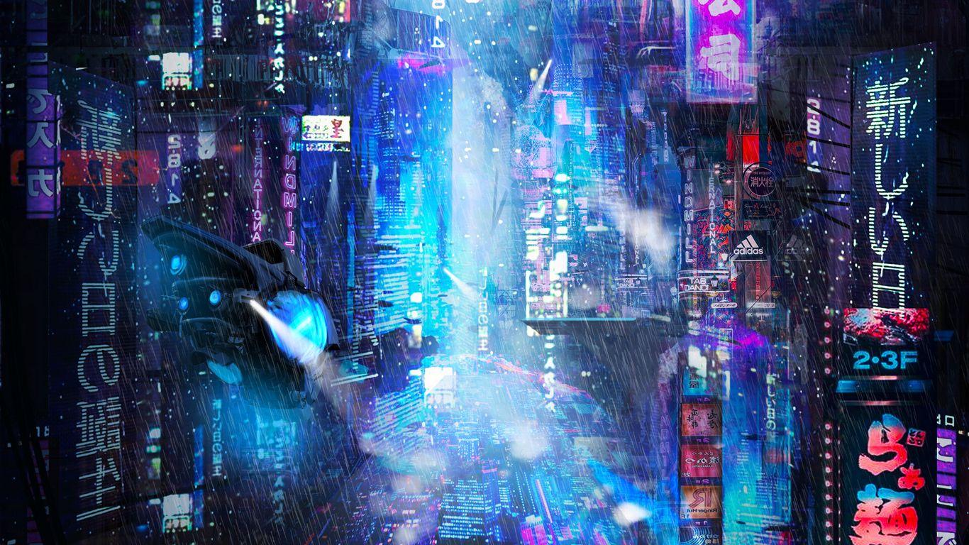 1366x768 Wallpaper future, neon, city, rain