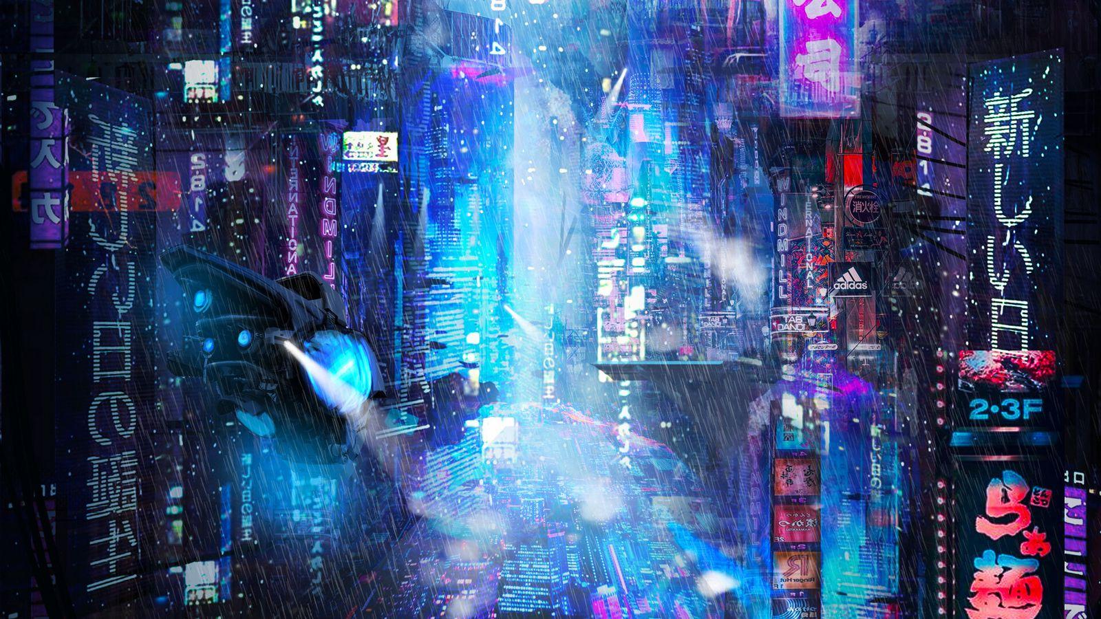 1600x900 Wallpaper future, neon, city, rain