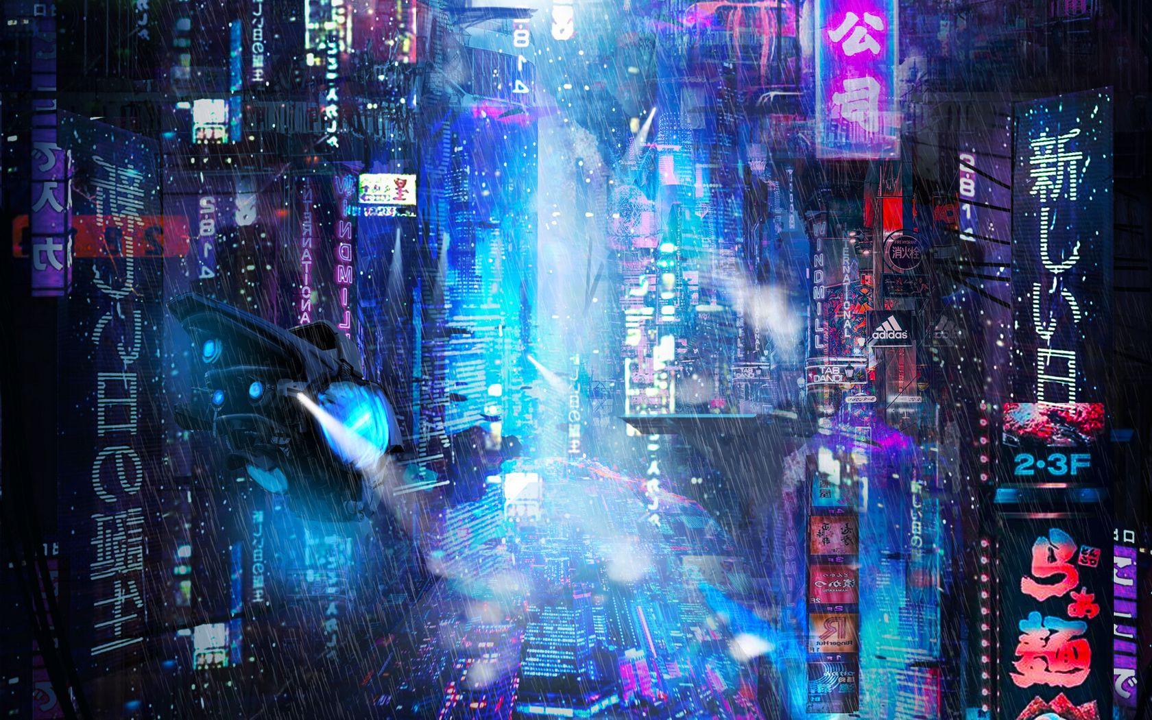 1680x1050 Wallpaper future, neon, city, rain