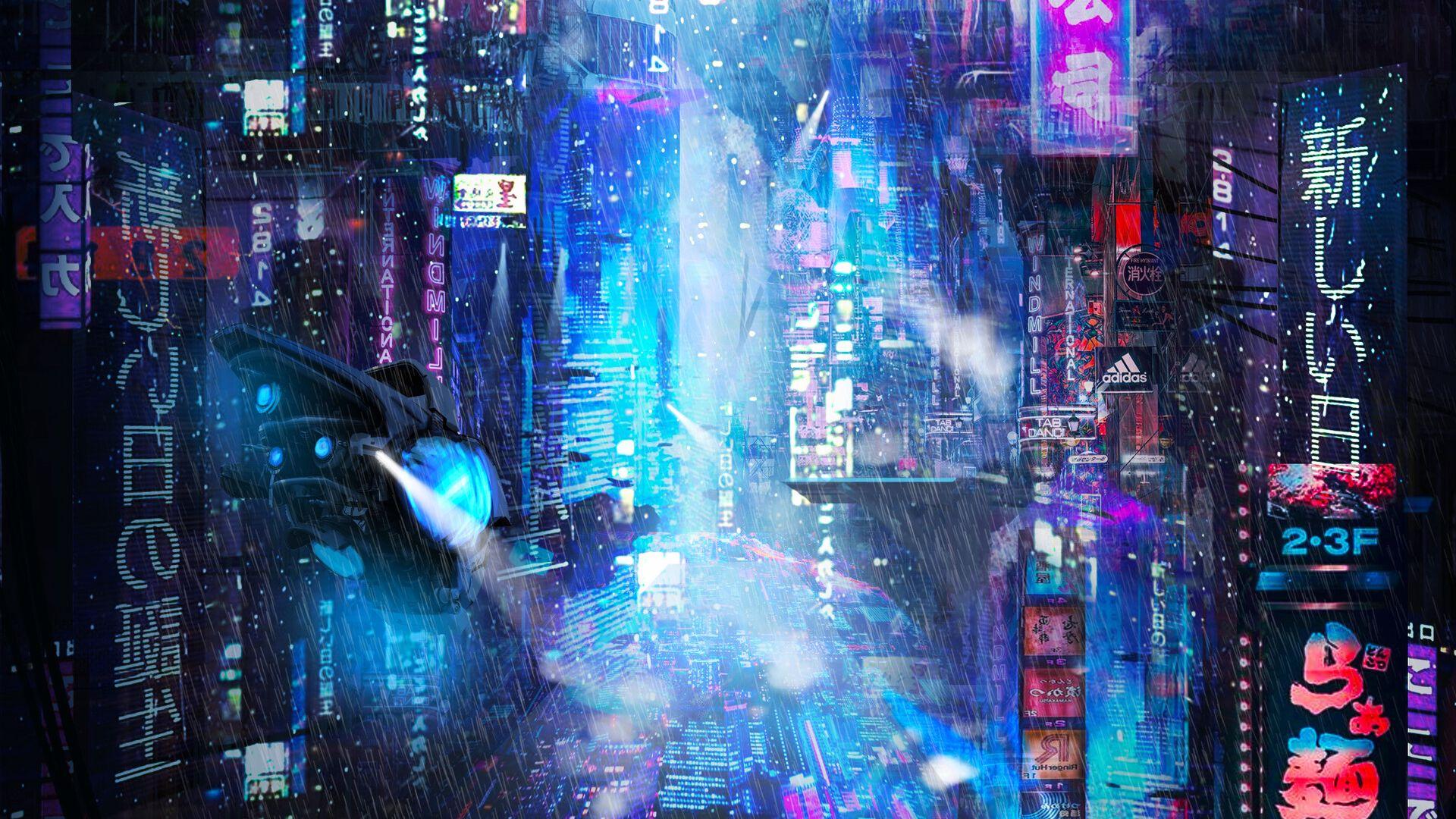 1920x1080 Wallpaper future, neon, city, rain