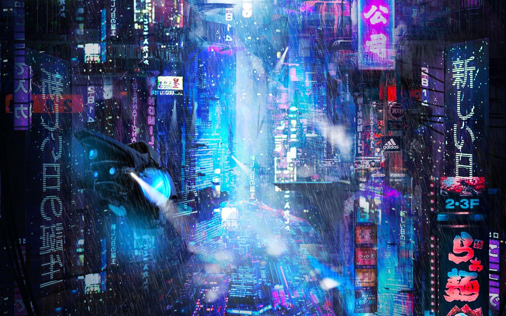 1920x1200 Wallpaper future, neon, city, rain