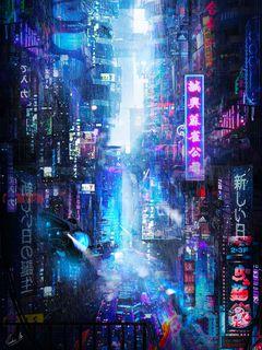 240x320 Wallpaper future, neon, city, rain