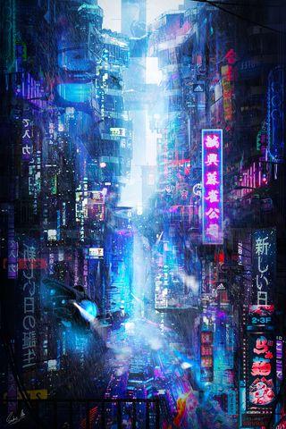 320x480 Wallpaper future, neon, city, rain