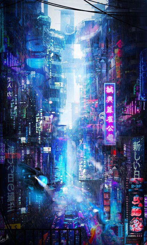 480x800 Wallpaper future, neon, city, rain