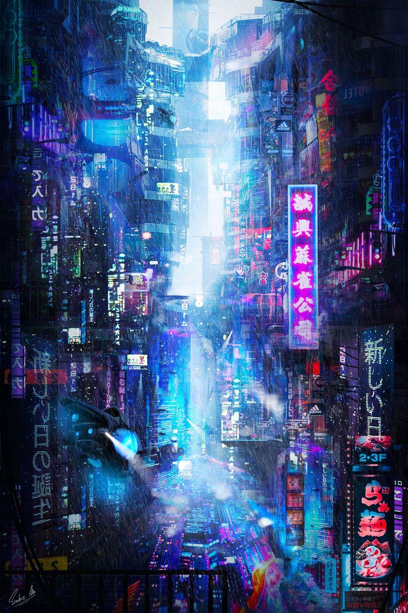 800x1200 Wallpaper future, neon, city, rain