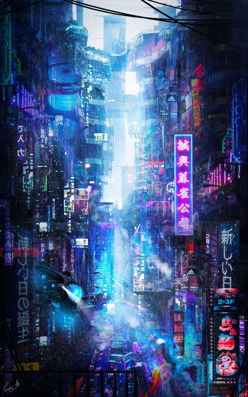 800x1280 Wallpaper future, neon, city, rain
