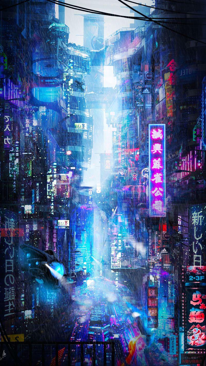 800x1420 Wallpaper future, neon, city, rain