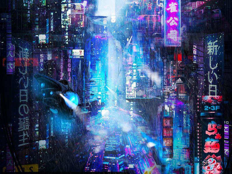 800x600 Wallpaper future, neon, city, rain