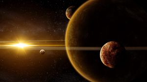 Preview wallpaper galaxy, planet, light, stars, rays