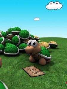 Preview wallpaper game, mario, turtle, grass, sky, bright